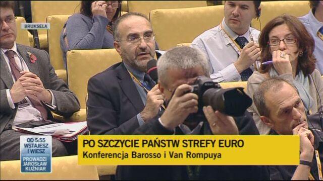 Konferencja Hermana Van Rompuy'a i Jose Manuela Barroso, ogłaszających osiągnięte porozumienie/TVN24
