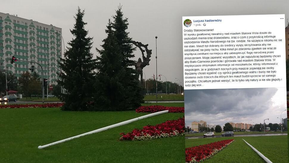 """Runął maszt w Stalowej Woli. Prezydent """"nie wyklucza działania osób trzecich"""""""