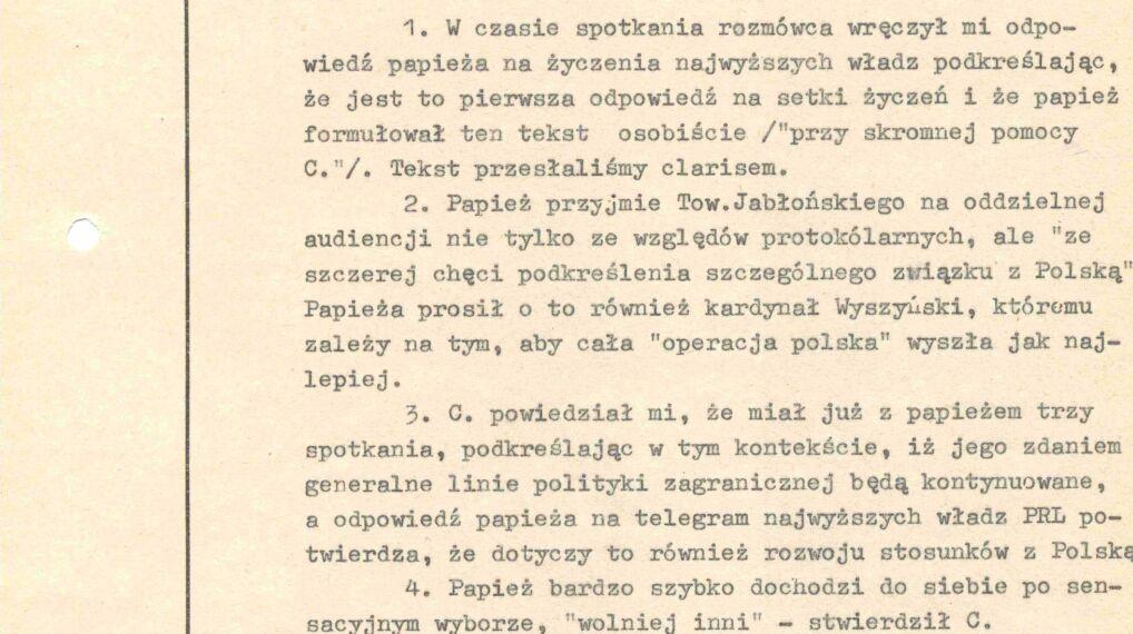 Depesza Kazimierza Szablewskiego do Stanisława Kani i Emila Wojtaszka informująca o sytuacji w Watykanie, 20 października 1978 r.
