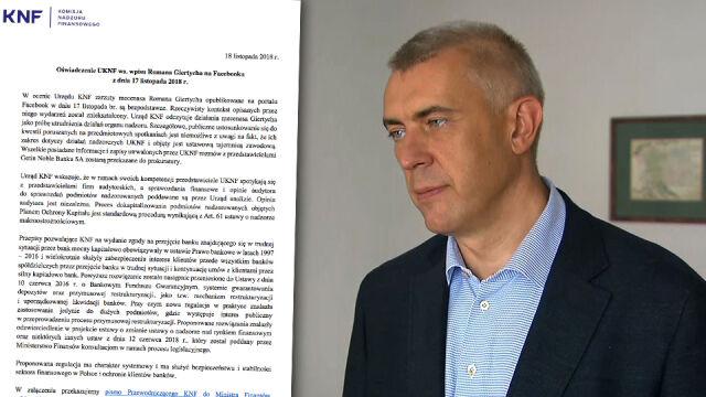 """""""Próba utrudnienia działań organu nadzoru"""". KNF odpowiada Giertychowi"""