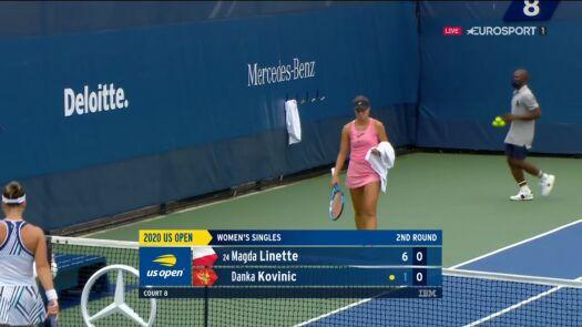 Linette wygrała pierwszego seta w starciu z Kovinić w 2. rundzie US Open