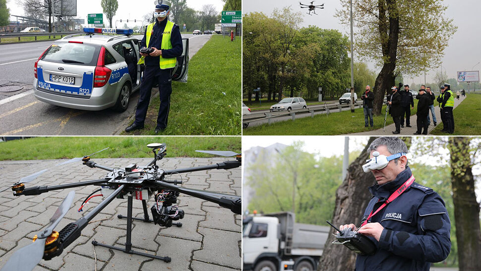 Policjanci testują drony i obserwują przejścia dla pieszych