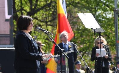 Anna Azari podczas 75. rocznicy powstania w getcie warszawskim