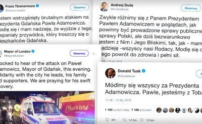 """""""Jestem wstrząśnięty"""". """"Zszokowany"""". Reakcje na atak na prezydenta Gdańska"""