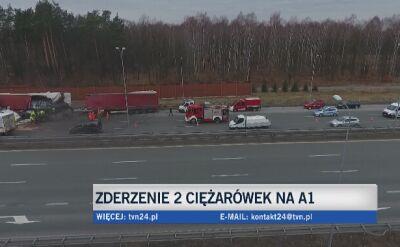 Zderzenie na autostradzie A1 w Knurowie
