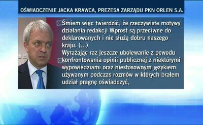 """Prezes Orlenu o swoich nagranych rozmowach. Wyraża ubolewanie, ale zapowiada """"działania prawne"""""""
