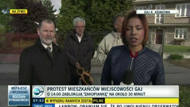 Protest mieszkańców w miejscowości Gaj