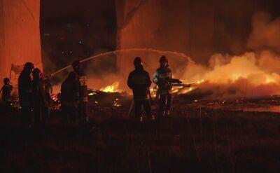 Tak wyglądało gaszenie pożaru Mostu Łazienkowskiego