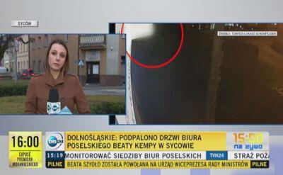 Nagranie z monitoringu pokazujące atak na biuro w Sycowie