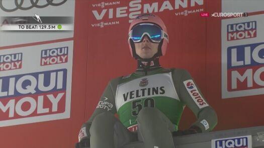 Skok Dawida Kubackiego z pierwszej serii konkursu w Lahti