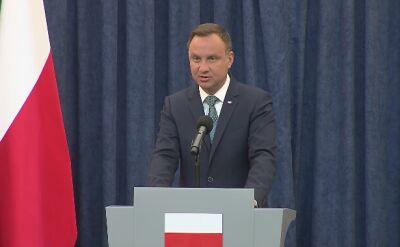 Prezydent Andrzej Duda ogłosił weto wobec ustaw o SN i KRS. Całe wystąpienie