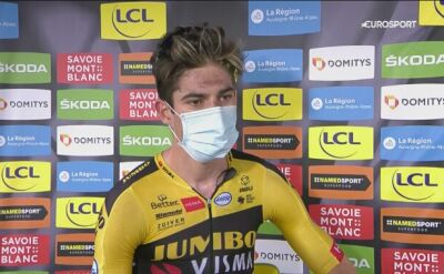 Wout van Aert po zwycięstwie na 1. etapie Criterium du Dauphine