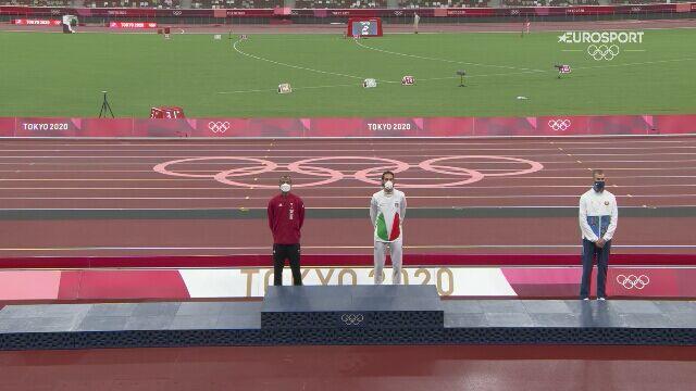 Tokio. Ceremonia medalowa skoku wzwyż mężczyzn