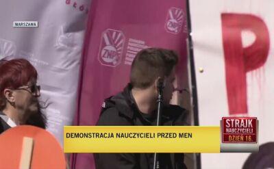 Sławomir Broniarz na demonstracji przed Ministerstwem Edukacji Narodowej