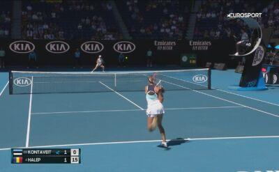 Skrót meczu Halep - Kontaveit w 1/4 finału Australian Open