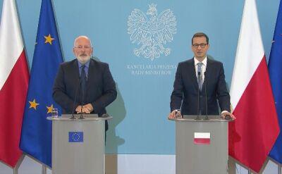 Premier po rozmowie z Timmermansem: cieszę się, że staramy się dojść do porozumienia