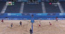 Tokio. Siatkówka plażowa mężczyzn. Fijałek/Bryl - Evandro/Schmidt 1. set. Setowa piłka