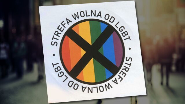 """The campaign includes stickers with a black """"x"""" through a rainbow flag and was announced last week by Gazeta Polska"""