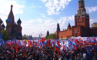 01.05.2014 | 100 tys. ludzi na pochodzie pierwszomajowym w Moskwie