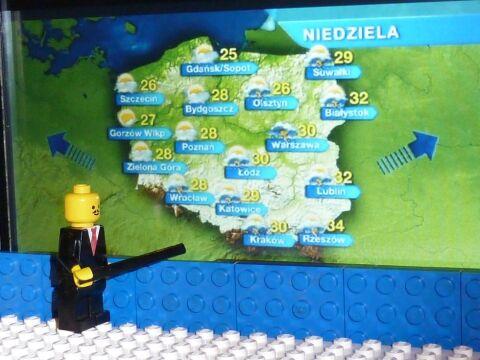 Prognoza pogody po Faktach w studiu z klocków Lego