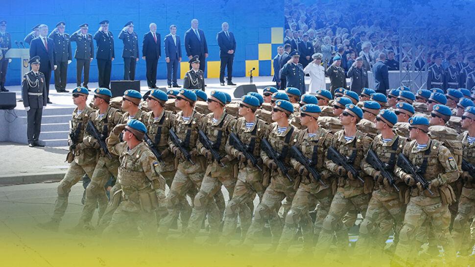 Polscy żołnierze na defiladzie wojskowej w Kijowie z okazji Dnia Niepodległości Ukrainy