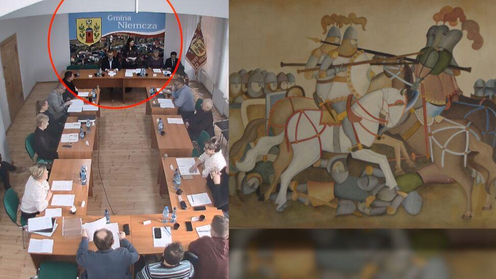 Odnowienie przez zamalowanie. Fresk zniknął przed wizytą premiera
