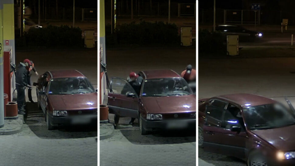 Pracownik stacji chciał powstrzymać kradzież paliwa. Wszystko nagrał monitoring