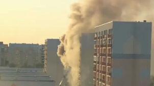 Doszczętnie spalone mieszkanie. Mężczyzna uciekł na balkon