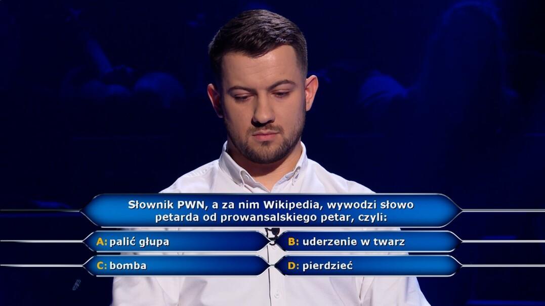 Milionerzy: etymologia słowa petarda w pytaniu za 75 tysięcy złotych
