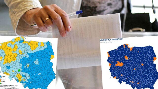 Wyborcza mapa powiatów teraz  i cztery lata temu. Co się zmieniło?