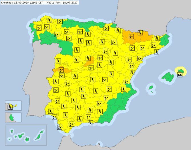 Ostrzeżenia dla Hiszpanii na piątek. Większość obowiązuje do godz. 23 (meteoalarm.eu)
