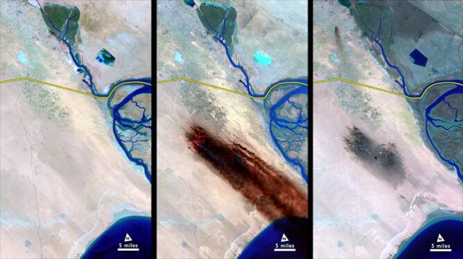 Płonące szyby naftowe w Kuwejcie w ujęciu satelity Landsat 5. Zdjęcie wykonano w 1991 roku (NASA)