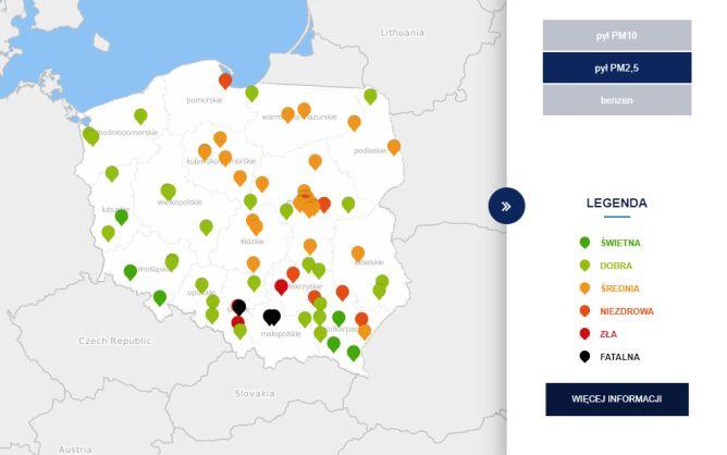 Stężenie pyłu PM2,5 o godzinie 7 (tvnmeteo.pl za GIOŚ)